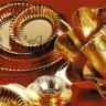 Piatto cartoncino tondo oro lucido