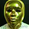 Maschera plastica oro con asta