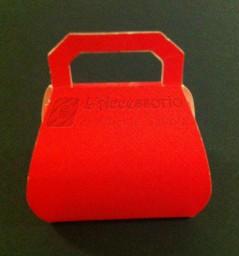 Scatolina Borsa seta rossa alta 8 cm.