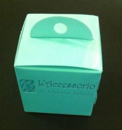Scatolina cubo 5x5x5 celeste con manico