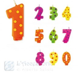 Candela a numero a Pois 4 colori